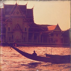 Buddhist monk on boat .. Bangkok