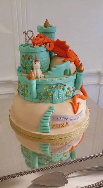 Dragon, Castle, Unicorn Cake by Tweedy's Cakes