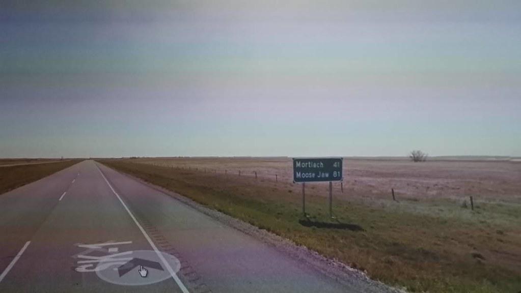 41 km to Mortlach, 81 to Moose Jaw, Saskatchewan. #ridingthroughwalls #xcanadabikeride #googlestreetview