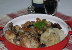 Roasted Chicken with Cabbage and Prunes