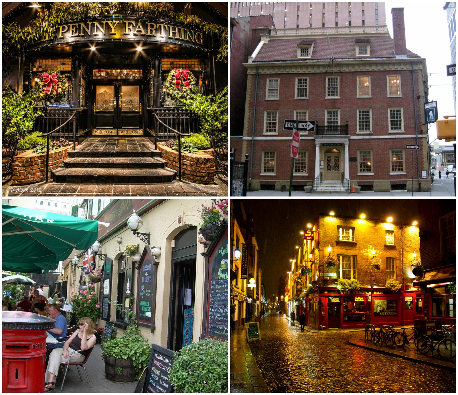 British-style pubs outside the UK. Top left: the Penny Farthing Pub, Oak Bay, B.C. (credit dvdmnk). Top right: Fraunces Tavern, New York City (credit Wally Gobetz). Bottom left: English Pub, Gibraltar (credit Allan Watt). Bottom right: Temple Bar Pub, Dublin, Ireland (Raphael Schon)