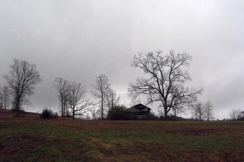 landscape scenic rural northcarolina abandoned rainy wet farmstead autumn