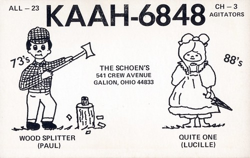 qsl qslcard cbradio cb ohio lumberjack woman spelling