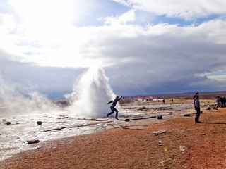 Strokkur eruption jumping