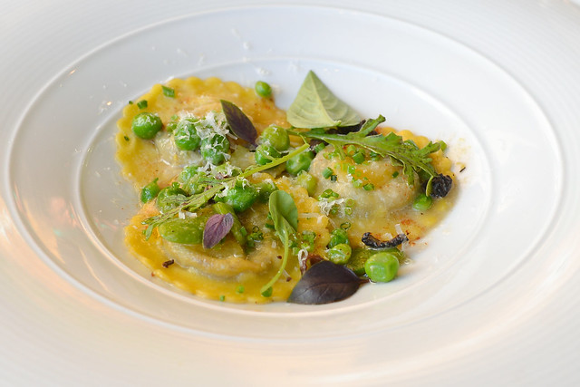 Morel-Mascarpone Raviolinis, quail egg, fava beans, peas, brown butter, parmesan