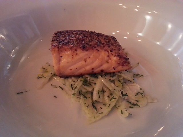 Salmon crusted in a middle-eastern spice mix with a fennel slaw