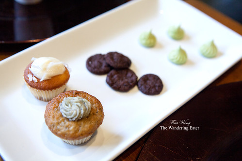 Earl grey cupcake, coconut Cupcake, chocolate shortbread cookies, green tea meringues