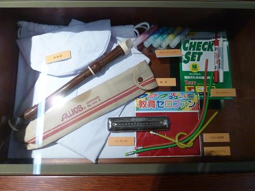 1980年代の学校の机の中