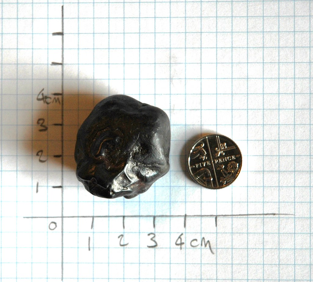 object on graph paper with 5p coin for scale