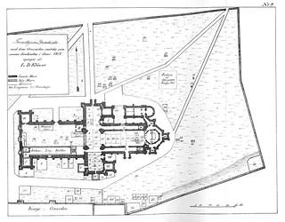 Kart over Trondhjems Domkirke og Domkirkegården (1817)