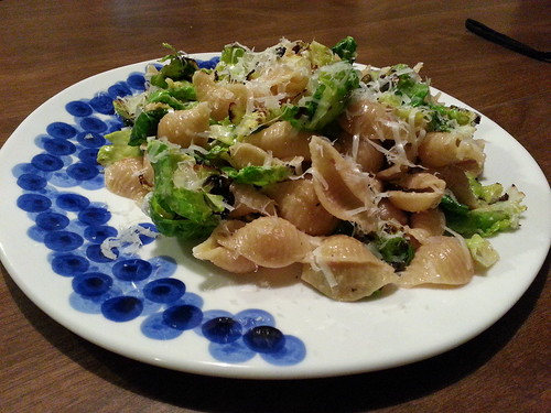 Orecchiette carbonara with charred Brussels sprouts Maria