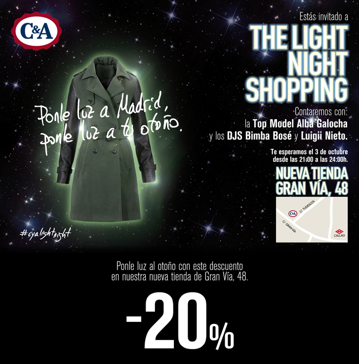 C&A flyer the light night shopping gran via madrid
