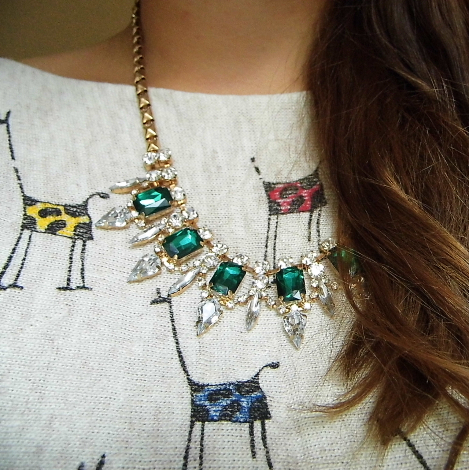 Green Necklace & Giraffe Jumper