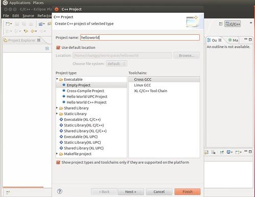 Ubuntu 12.04 Eclipse New C++ Project 2