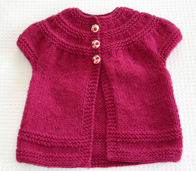 Raspberry In Threes Cardigan