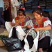 Mujeres de Sibaca bordando en el mercado -  Women of Sibaca embroidering in the market, Tianguis de Ocosingo, Chiapas, Mexico