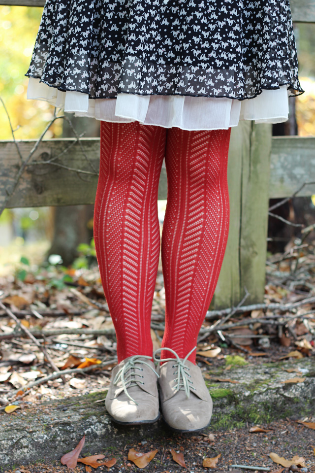 Rust Orange Patterned Tights