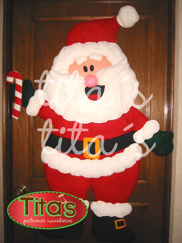 Santa claus para puerta fieltro imagui for Puertas decoradas santa claus