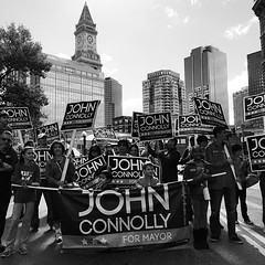 Perfect backdrop for the John Connolly for #bosmayor parade contingent! #onthecampaigntrail