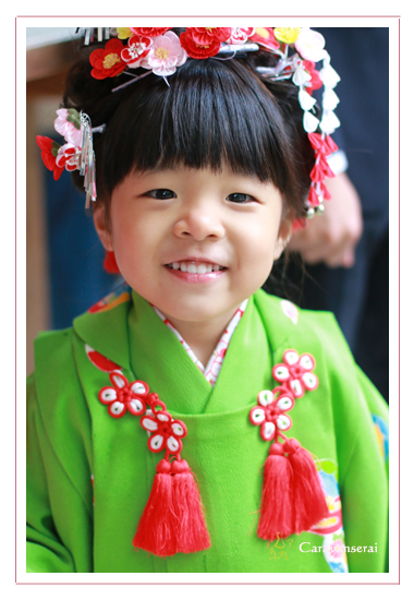 七五三写真 出張撮影 着物 屋外 深川神社 愛知県瀬戸市 女の子 自由な感じ 自然 お参り