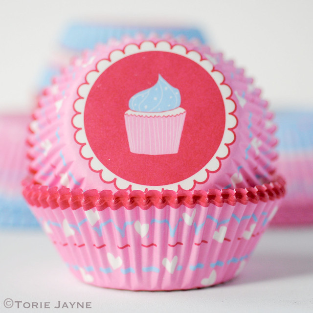 Pink and white heart printed cupcake cases