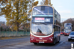 This bus was new to Lothian Buses as 955 in 2011. Seen here on Comiston Road.  The 5 was route diverted via Comiston Road and Oxgangs to join the normal route in both directions, as Greenbank Drive/Oxgangs Avenue was closed for road works. The 16 was diverted via Greenbank Drive then back on it's no...