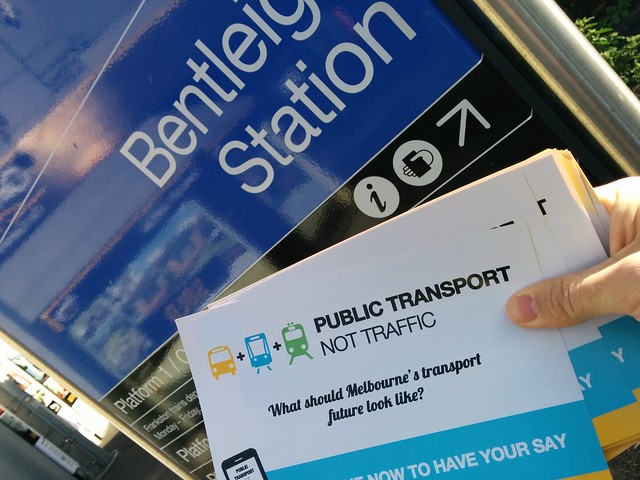 PTNT flyers at Bentleigh station