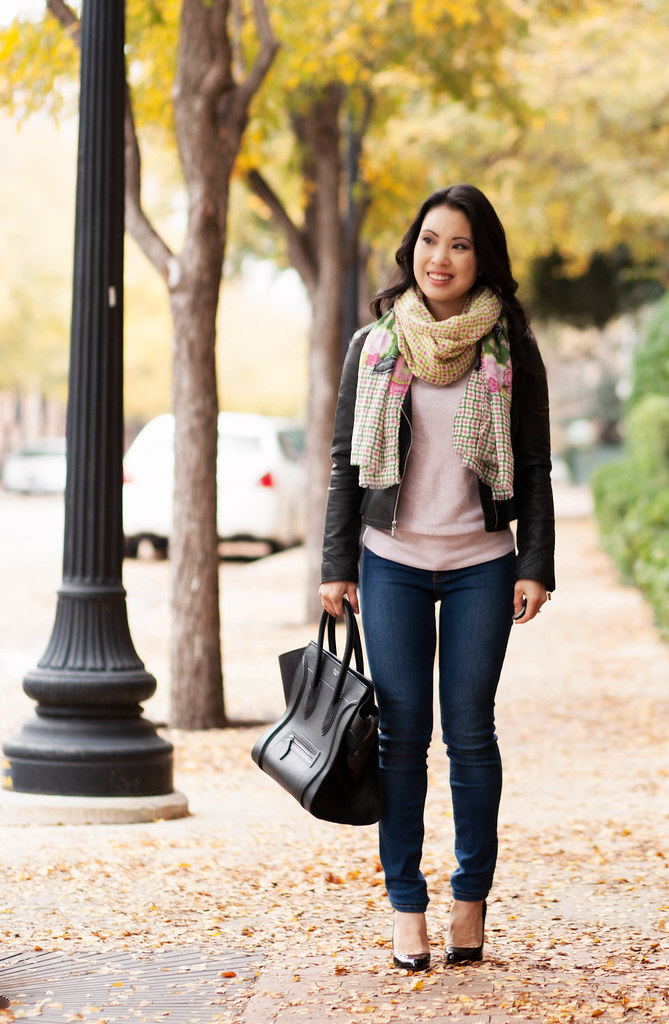 cute & little blog | henry & belle super skinny ankle jeans review | express moto jacket, vera bradley olivia pink scarf, celine mini luggage tote, louboutin decollete pumps, outfit
