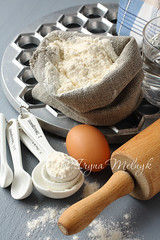 Ingredients and tools to make russian pelmeni