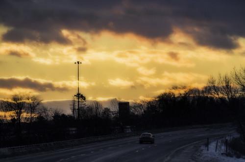 winter sunset clouds highway sundown interstate i95 partlycloudy pentaxk30 autosears135mmf28macro