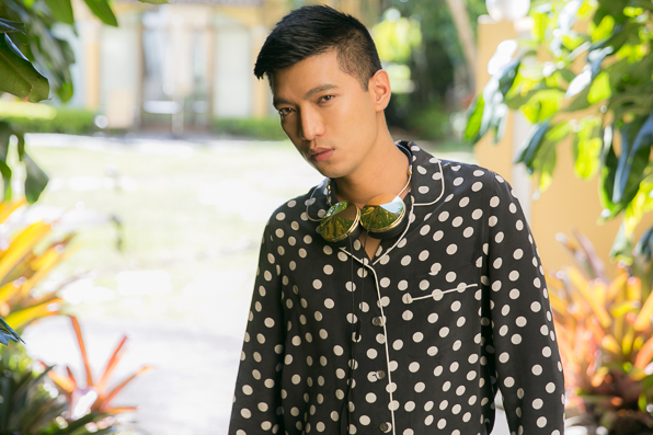 Bryanboy wearing a black and white polka dot pyjama set by Equipment