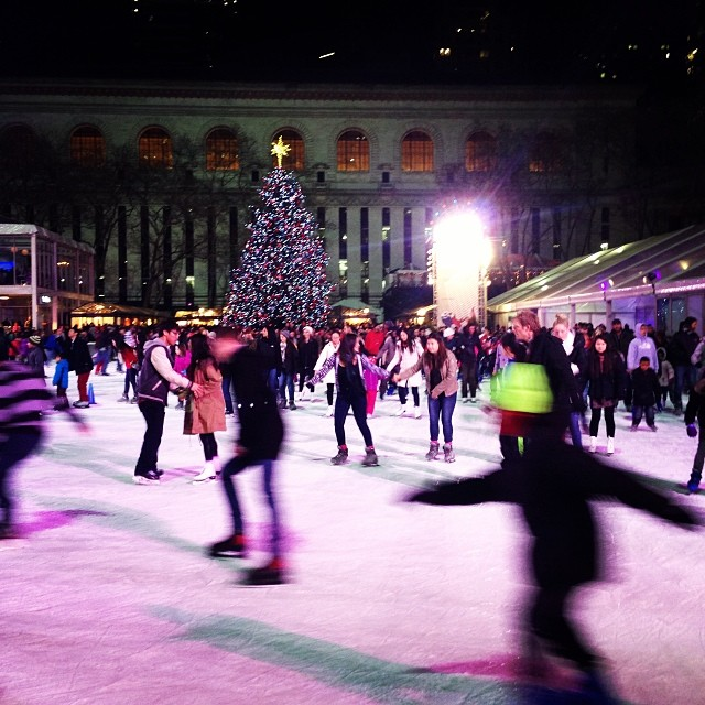 Ice skating at Bryant Park, New York.