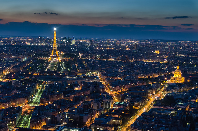 The Eiffel Tower after dark - View from the Montparnasse Tower