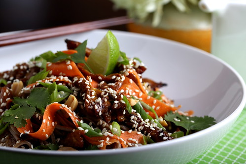 Curry-Scented Soy Curls with Sesame-Cinnamon Dressing