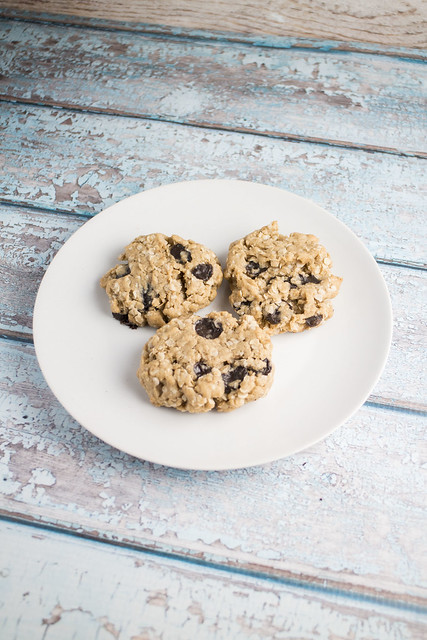 Delicious Dairy Free Oatmeal Peanut Butter Cookies made with vegan butter and vegan chocolate chips!
