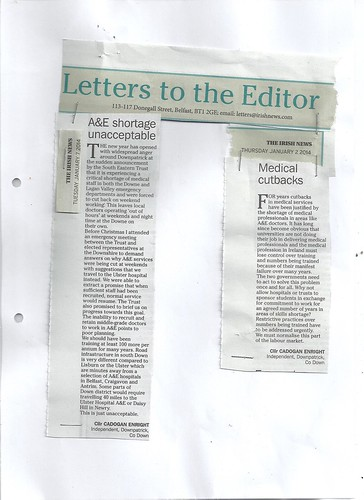 Jan 2&7 2014 A raft of letters sent to all the regional and National papers