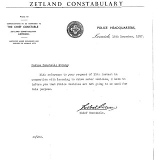 Zetland Constabulary memo 1957