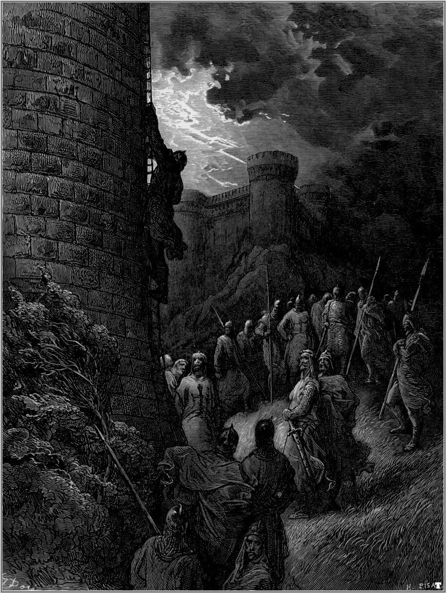 4. Intento de asalto por sorpresa a las murallas. De la obra Las Cruzadas. Gustavo Doré (1832-1883)