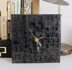 Leather Block Clock