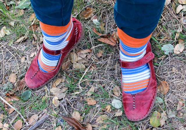 striped socks, red leather mary janes - OOTD 1/17/2014