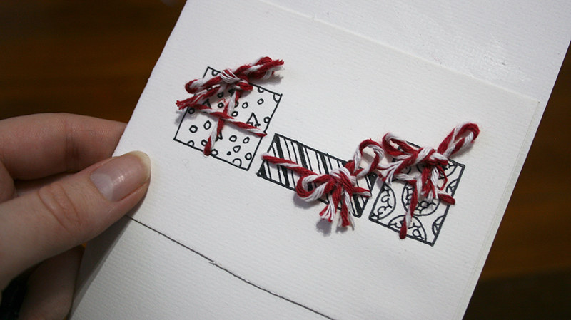 Christmas cards - Fourth sheet of paper stuck on the inside of the card