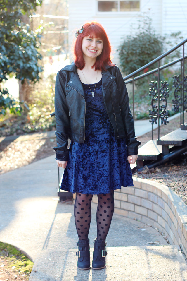 Leather Jacket, Blue Crushed Velvet Dress, & Polka Dot Tights