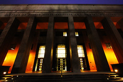 Lorenzo de Zavala State Archives and Library Building at Night