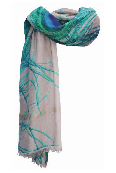 Peacock Digital Aqua Rectangle Scarf