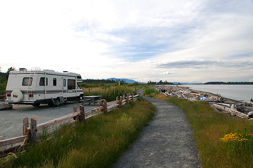 Beachfront Campground at Island View Beach Park, Saanichton, Saanich Peninsula, Victoria, Vancouver Island, British Columbia, Canada