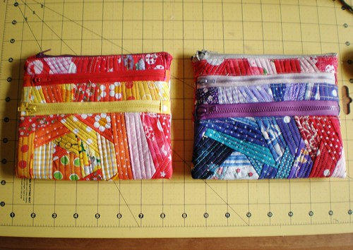 Colourful QAYG Triple Zip pouches
