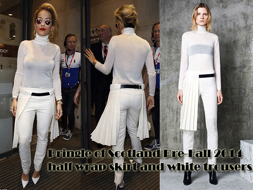 Pringle of Scotland half wrap skirt and white trousers: Scottish traditional trend