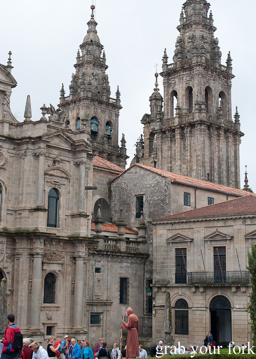 Tourists at the rear of Santiago de Compostela Cathedral, Spain