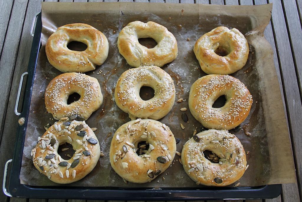 Bagels, freshly baked.