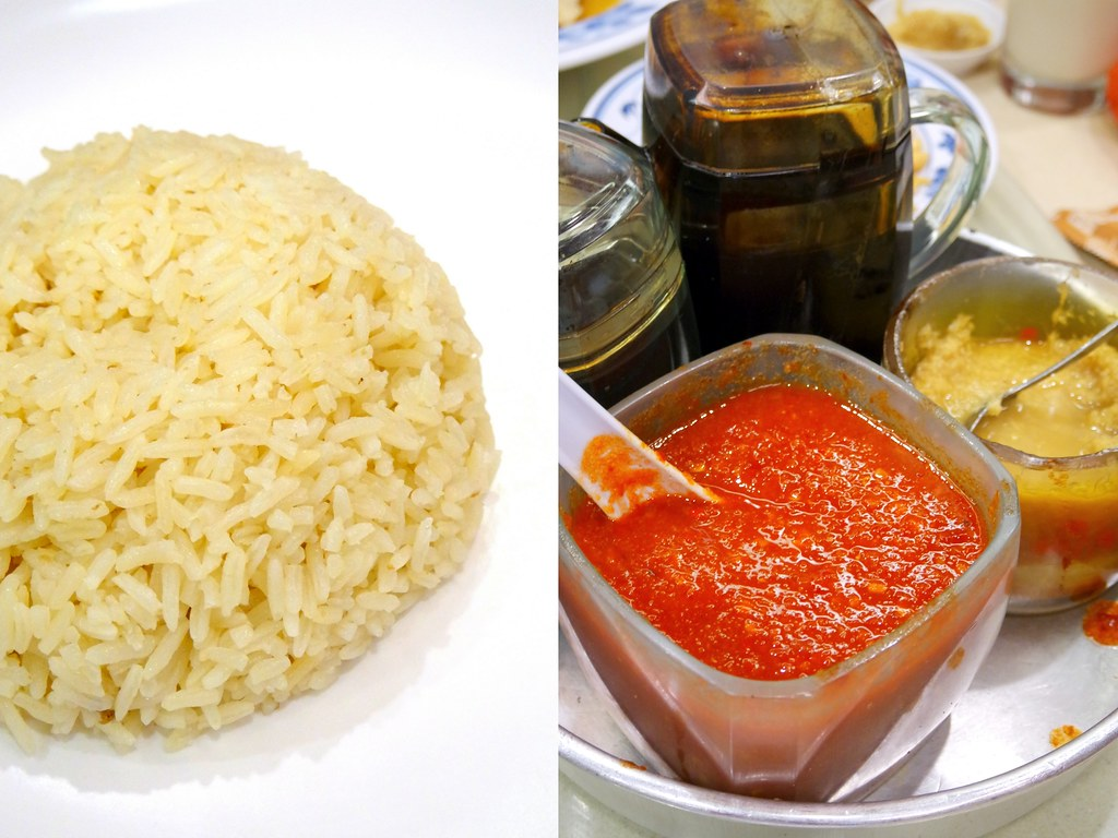 Pow Sing Restaurant: Rice on the left & sauce on the right